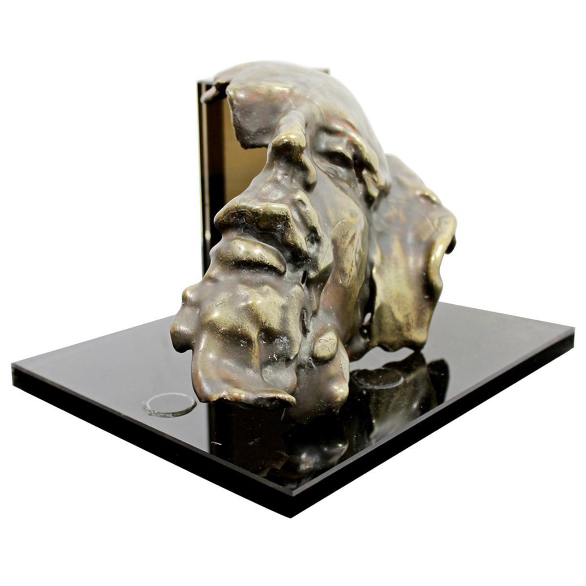 Contemporary Modern Bronze Face Table Sculpture Signed Gordon Hipp Dated 1990s