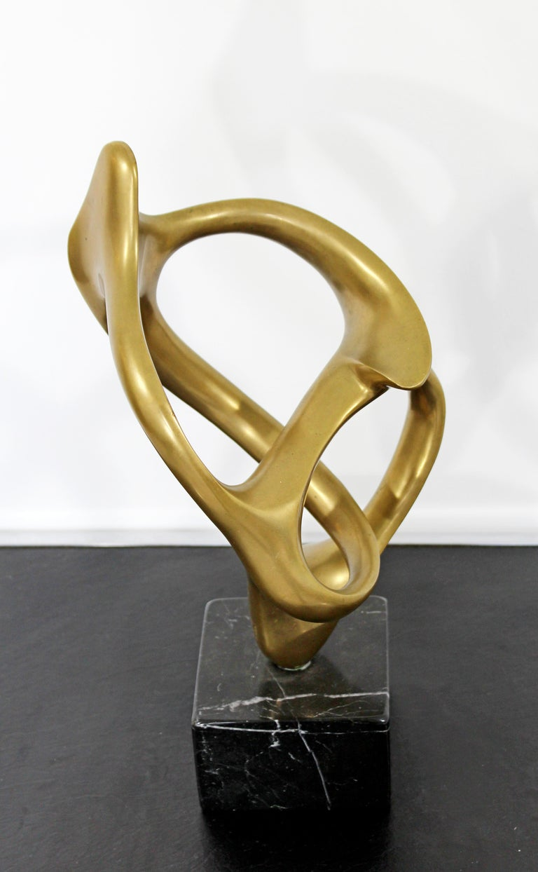 For your consideration is a wonderful, abstract, bronze on marble table sculpture, entitled