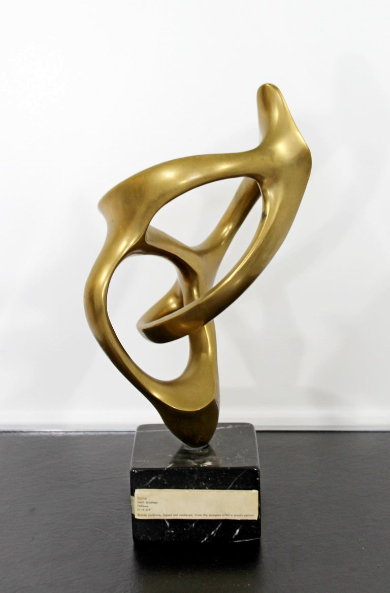 Late 20th Century Contemporary Modern Bronze Marble Table Sculpture Signed by Kieff Grediaga AP