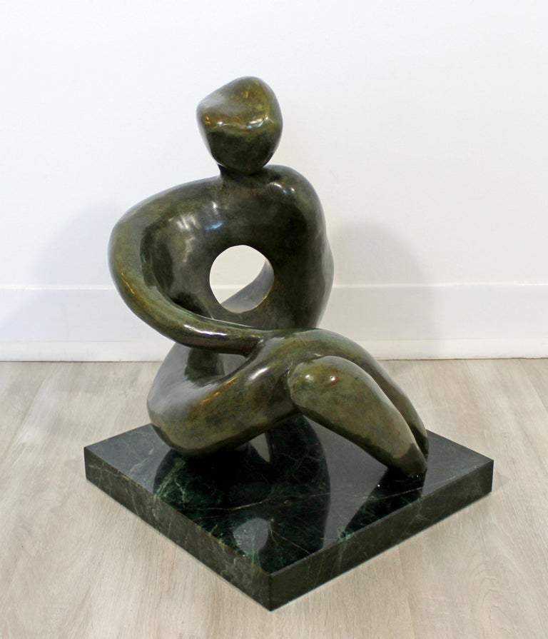 Contemporary Modern Bronze Marble Table Sculpture Signed Porret Manifesto, 1987 5