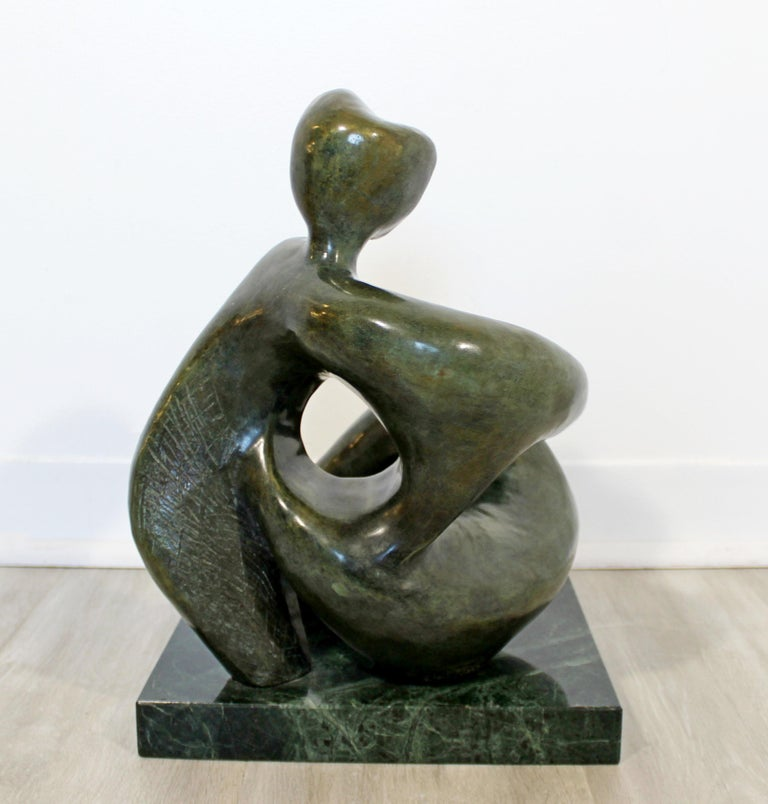 American Contemporary Modern Bronze Marble Table Sculpture Signed Porret Manifesto, 1987