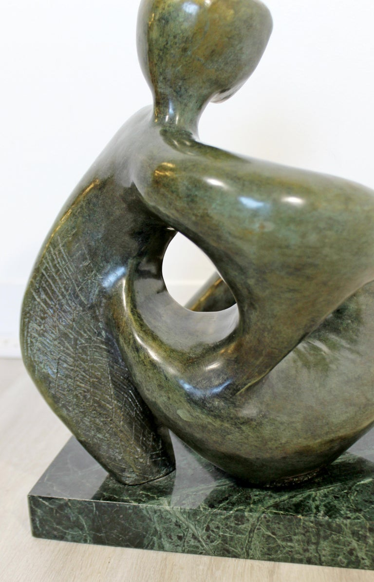 Contemporary Modern Bronze Marble Table Sculpture Signed Porret Manifesto, 1987 In Good Condition In Keego Harbor, MI
