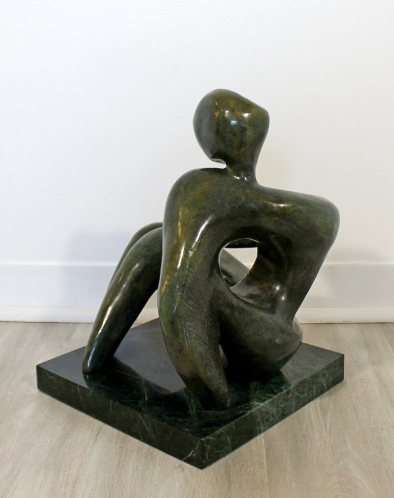 Late 20th Century Contemporary Modern Bronze Marble Table Sculpture Signed Porret Manifesto, 1987