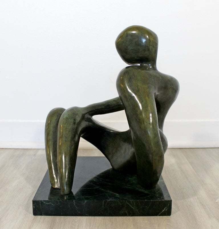 Contemporary Modern Bronze Marble Table Sculpture Signed Porret Manifesto, 1987 1