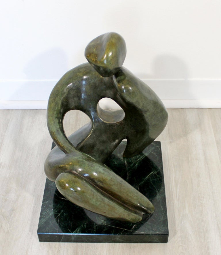 Contemporary Modern Bronze Marble Table Sculpture Signed Porret Manifesto, 1987 4