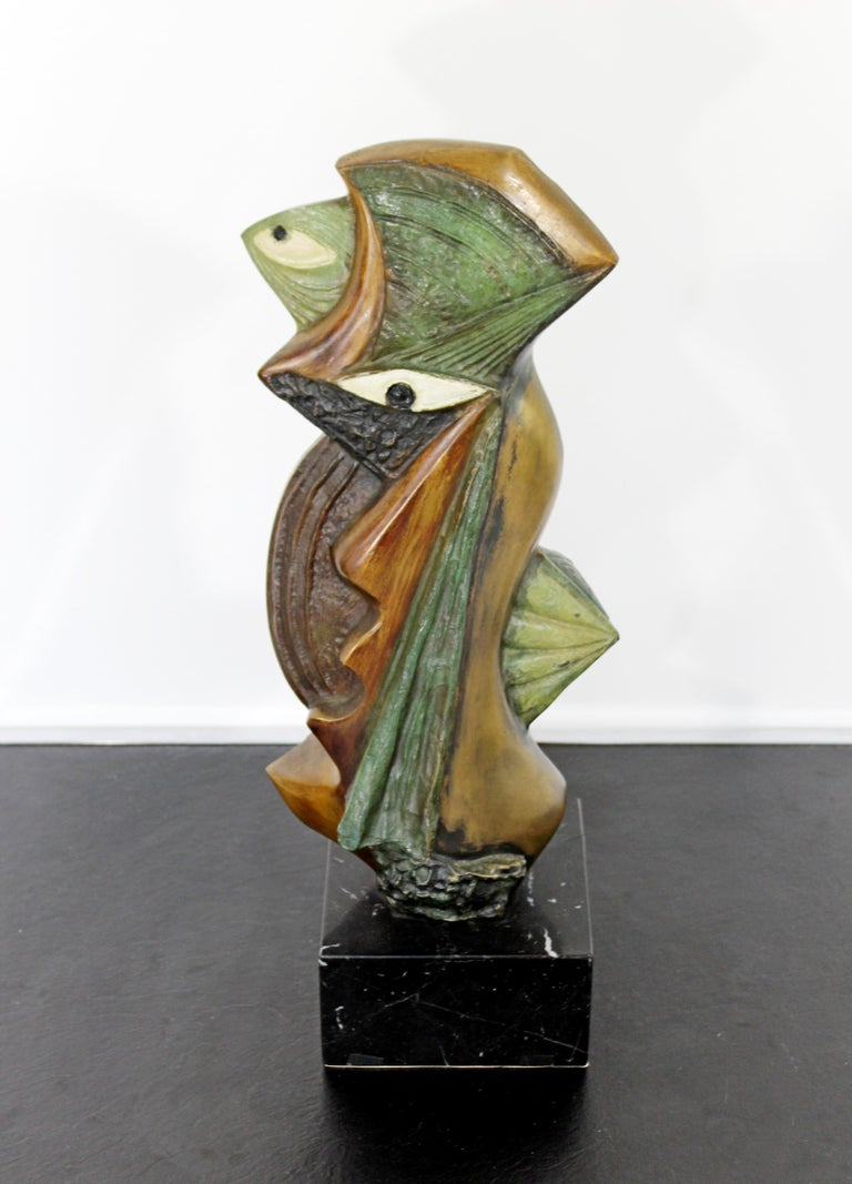 For your consideration is an amazing, bronze on marble table sculpture, entitled