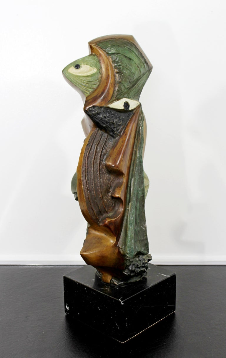 Contemporary Modern Bronze on Marble Table Sculpture Signed by Kieff Grediaga In Good Condition For Sale In Keego Harbor, MI