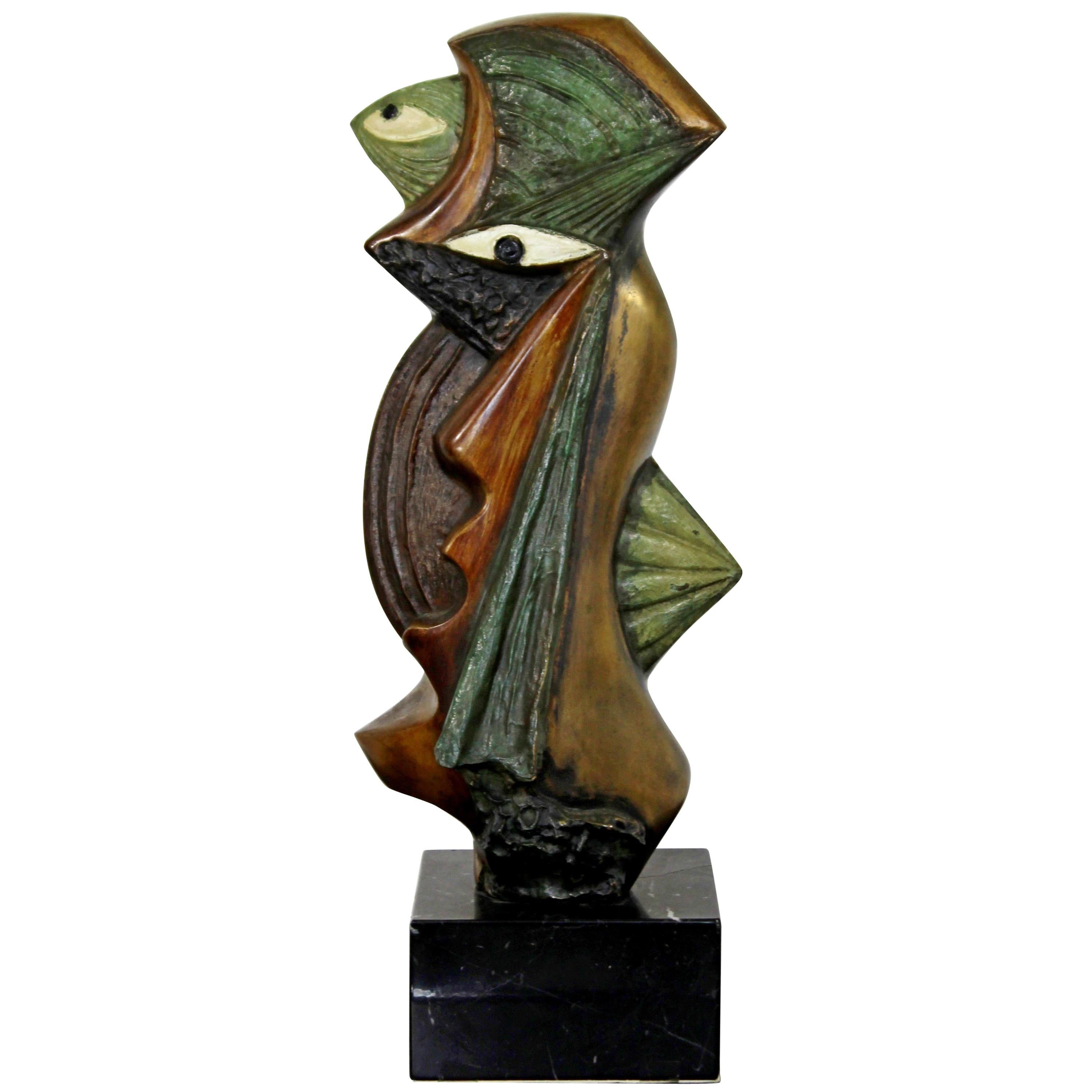 Contemporary Modern Bronze on Marble Table Sculpture Signed by Kieff Grediaga
