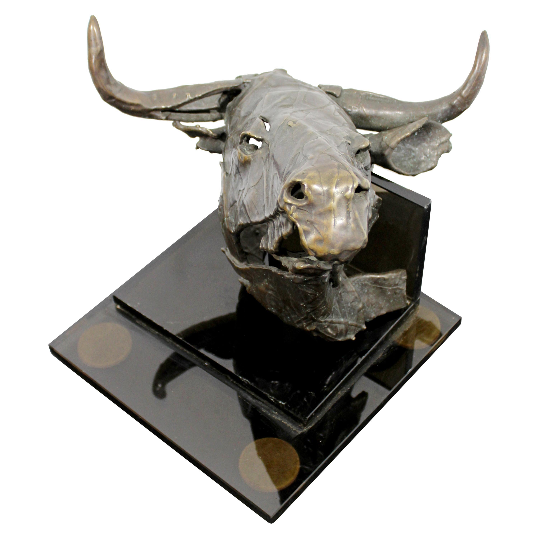 Contemporary Modern Bronze Steer Table Sculpture Signed Gordon Hipp Dated 1990s