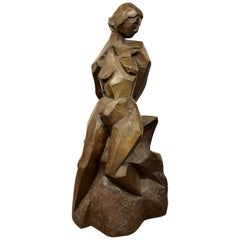 Contemporary Modern Bronze Table Sculpture Nude Woman Signed Sylvia Perle, 1990s