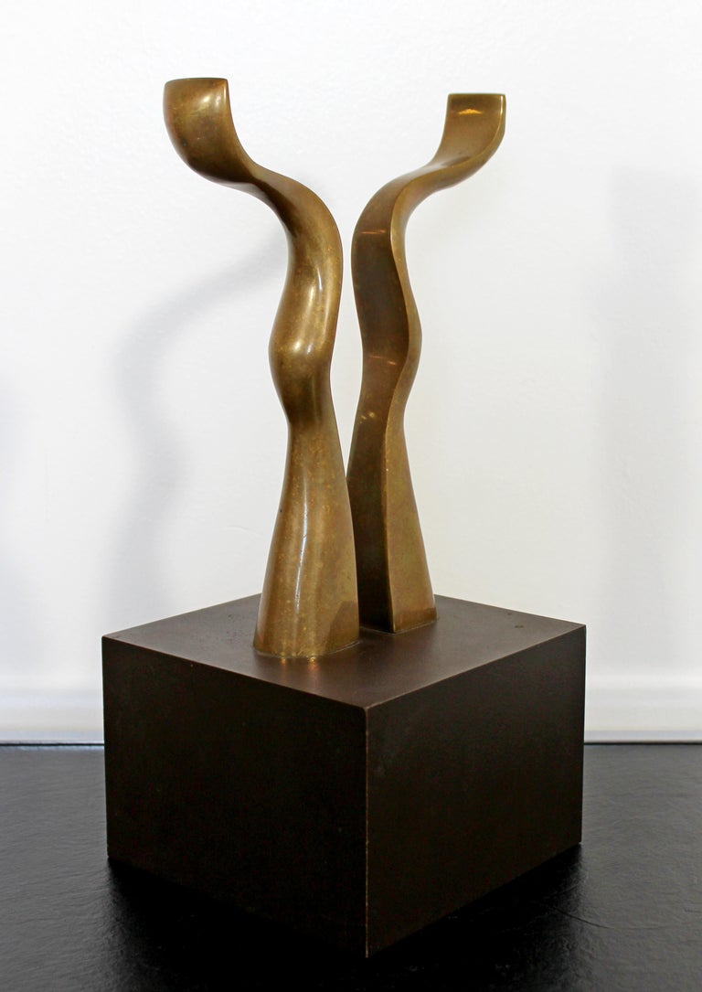 For your consideration is a fantastic, abstract, bronze table sculpture, signed by Joseph Burlini, numbered 4/5, dated 1980. In excellent condition. The dimensions are 6
