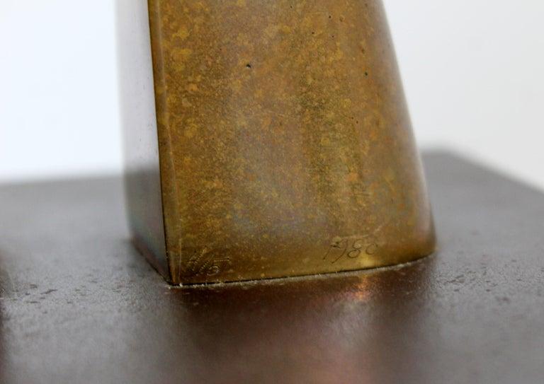 Contemporary Modern Bronze Table Sculpture Signed Joseph Burlini 4/5, 1980 For Sale 2