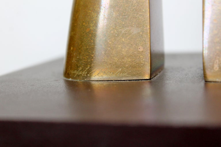 Contemporary Modern Bronze Table Sculpture Signed Joseph Burlini 4/5, 1980 For Sale 3