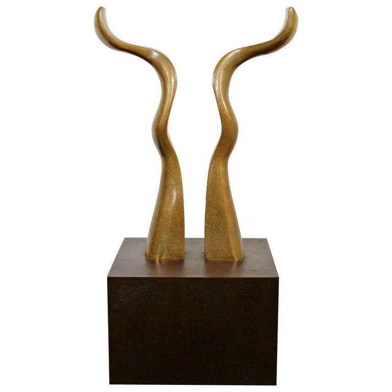 Contemporary Modern Bronze Table Sculpture Signed Joseph Burlini 4/5, 1980 For Sale