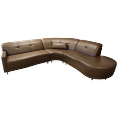 Contemporary Modern Brown Leather 3 Pc Curved Sectional Sofa