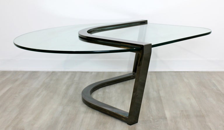 American Contemporary Modern Brueton Cantilevered Glass and Gunmetal Coffee Table, 1980s For Sale