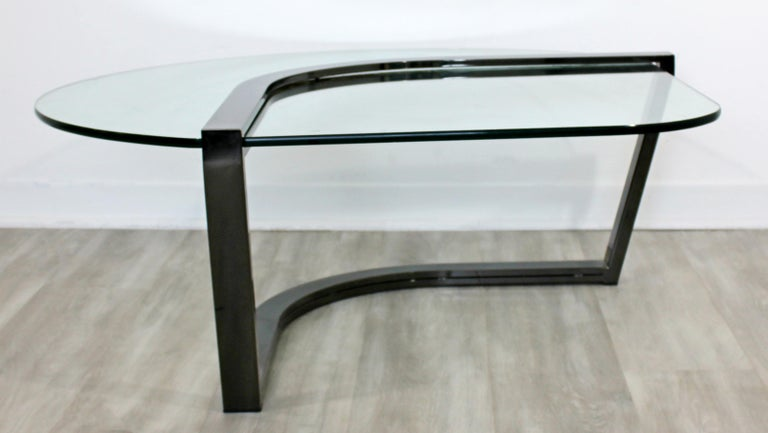 Contemporary Modern Brueton Cantilevered Glass and Gunmetal Coffee Table, 1980s In Good Condition For Sale In Keego Harbor, MI