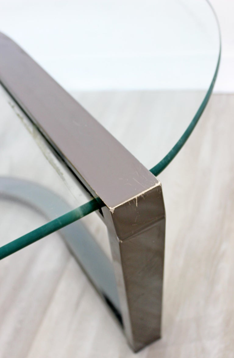 Contemporary Modern Brueton Cantilevered Glass and Gunmetal Coffee Table, 1980s For Sale 2