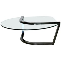 Contemporary Modern Brueton Cantilevered Glass and Gunmetal Coffee Table, 1980s