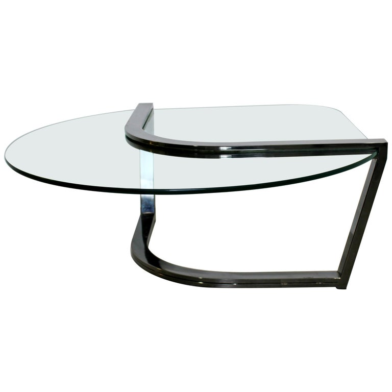Contemporary Modern Brueton Cantilevered Glass and Gunmetal Coffee Table, 1980s For Sale