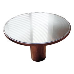 Contemporary Modern Brueton Circular Glass Steel Dinette Table, 1980s