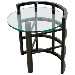 Contemporary Modern Brueton Round Gunmetal Glass Side End Table Asymmetrical