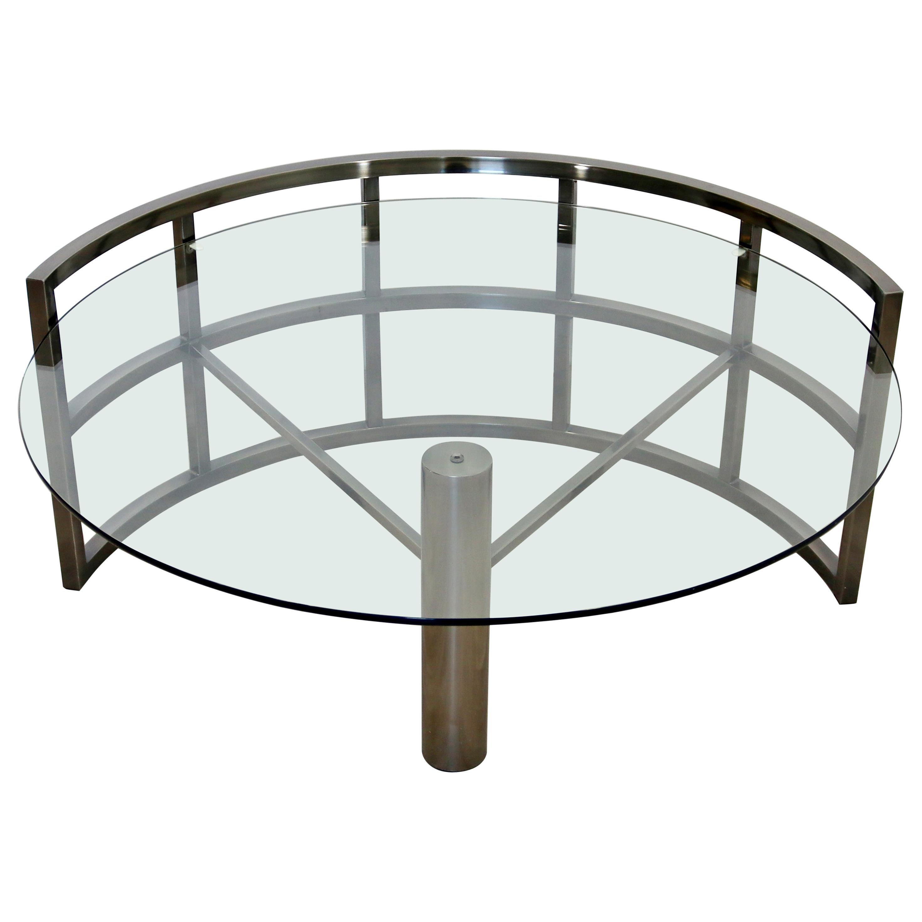 Contemporary Modern Brueton Style Asymmetrical Glass Gunmetal Coffee Table 1980s
