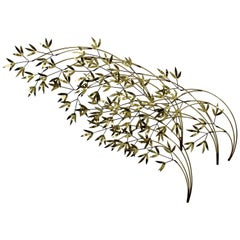 Contemporary Modern C. Jere Signed Brass Willow Tree Wall Sculpture Dated 1980s