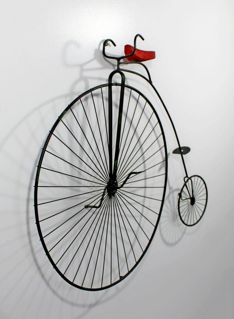 Mid-Century Modern Contemporary Modern C Jere Signed Metal Bicycle with Red Seat Sculpture 1980s For Sale