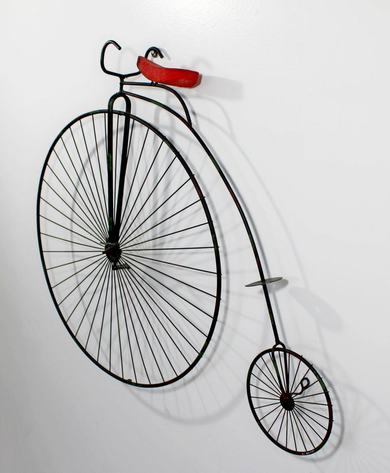 Contemporary Modern C Jere Signed Metal Bicycle with Red Seat Sculpture 1980s In Good Condition For Sale In Keego Harbor, MI
