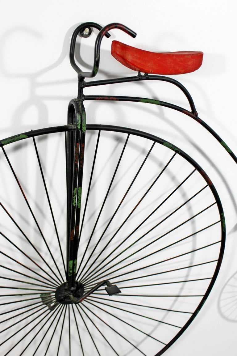 Late 20th Century Contemporary Modern C Jere Signed Metal Bicycle with Red Seat Sculpture 1980s For Sale