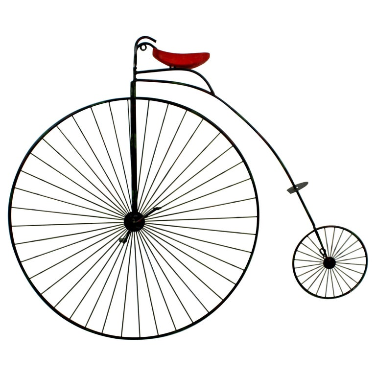 Contemporary Modern C Jere Signed Metal Bicycle with Red Seat Sculpture 1980s For Sale