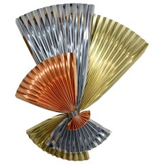 Contemporary Modern C Jere Signed Tri-Color Metal Fan Wall Sculpture, 1980s