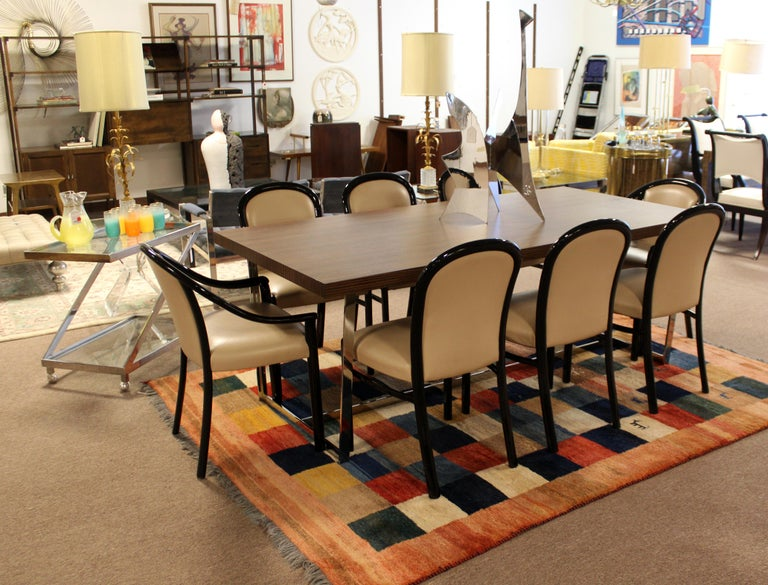 Contemporary Modern Calligaris Italy Zebra Wood Chrome Dining Conference Table 7
