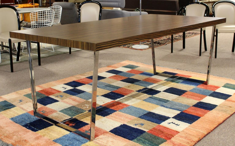 For your consideration is a marvelous, zebra wood topped conference or dining table, by Calligaris Italy. In excellent condition. The dimensions are 79