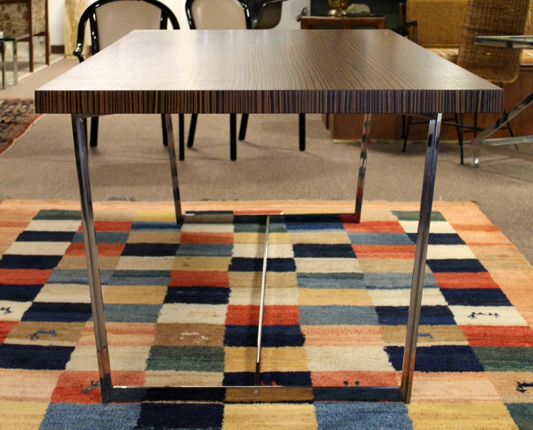 Italian Contemporary Modern Calligaris Italy Zebra Wood Chrome Dining Conference Table