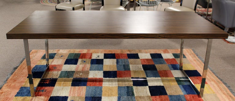Contemporary Modern Calligaris Italy Zebra Wood Chrome Dining Conference Table In Good Condition In Keego Harbor, MI