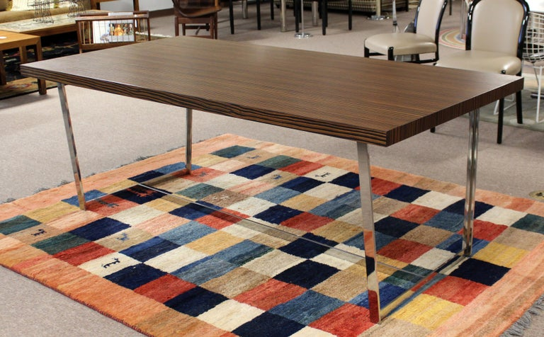 20th Century Contemporary Modern Calligaris Italy Zebra Wood Chrome Dining Conference Table