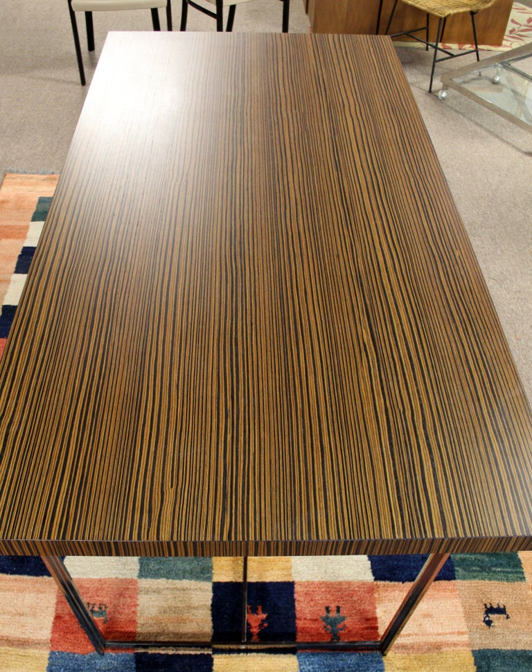 Contemporary Modern Calligaris Italy Zebra Wood Chrome Dining Conference Table 1