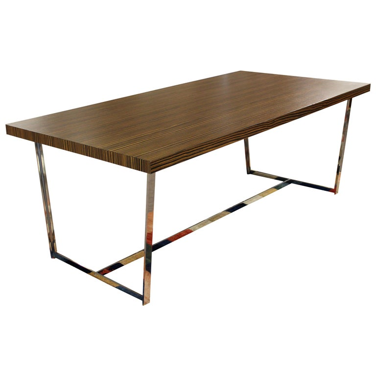 Contemporary Modern Calligaris Italy Zebra Wood Chrome Dining Conference Table
