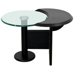 Contemporary Modern Cassina Black Metal Chrome & Glass Side Table, 1970s, Italy