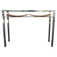Contemporary Modern Chrome, Glass and Leather Console Table