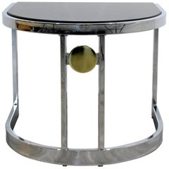 Contemporary Modern Chrome & Granite Milo Baughman Side End Table, 1970s
