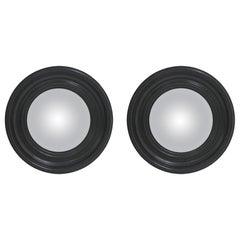 Contemporary Modern Circular Convex Pair of Black Ebonized Wood Italian Mirrors