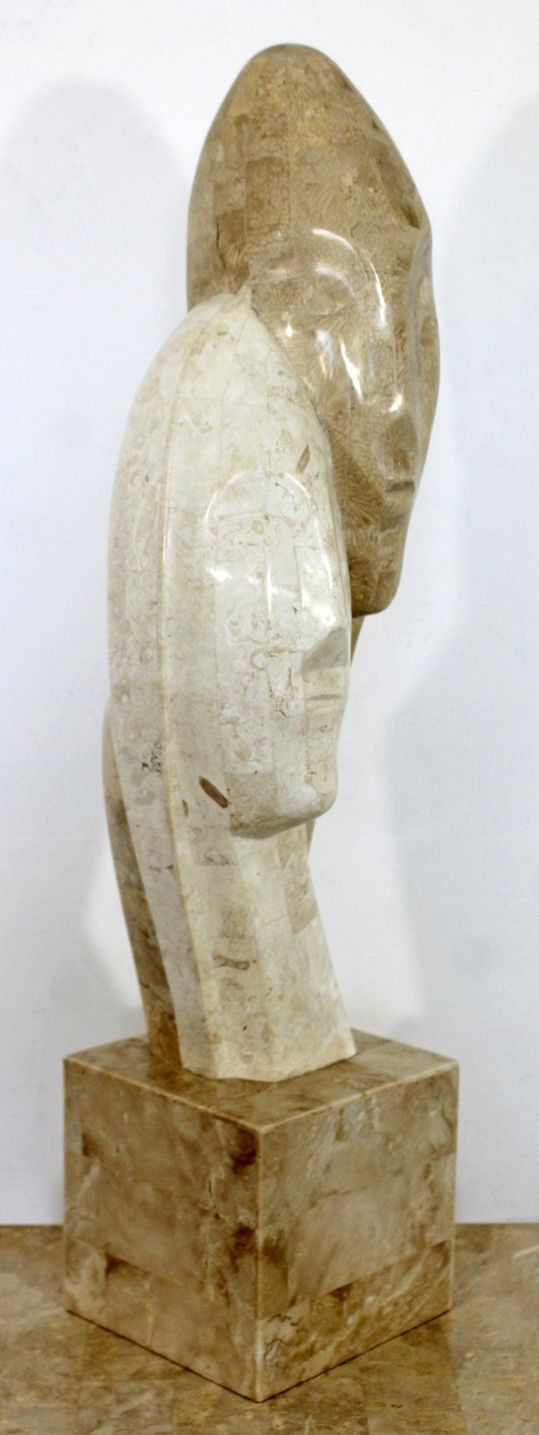 Contemporary Modern Composite Faux Marble Sculpture on Pedestal Austin Prod Era For Sale 6