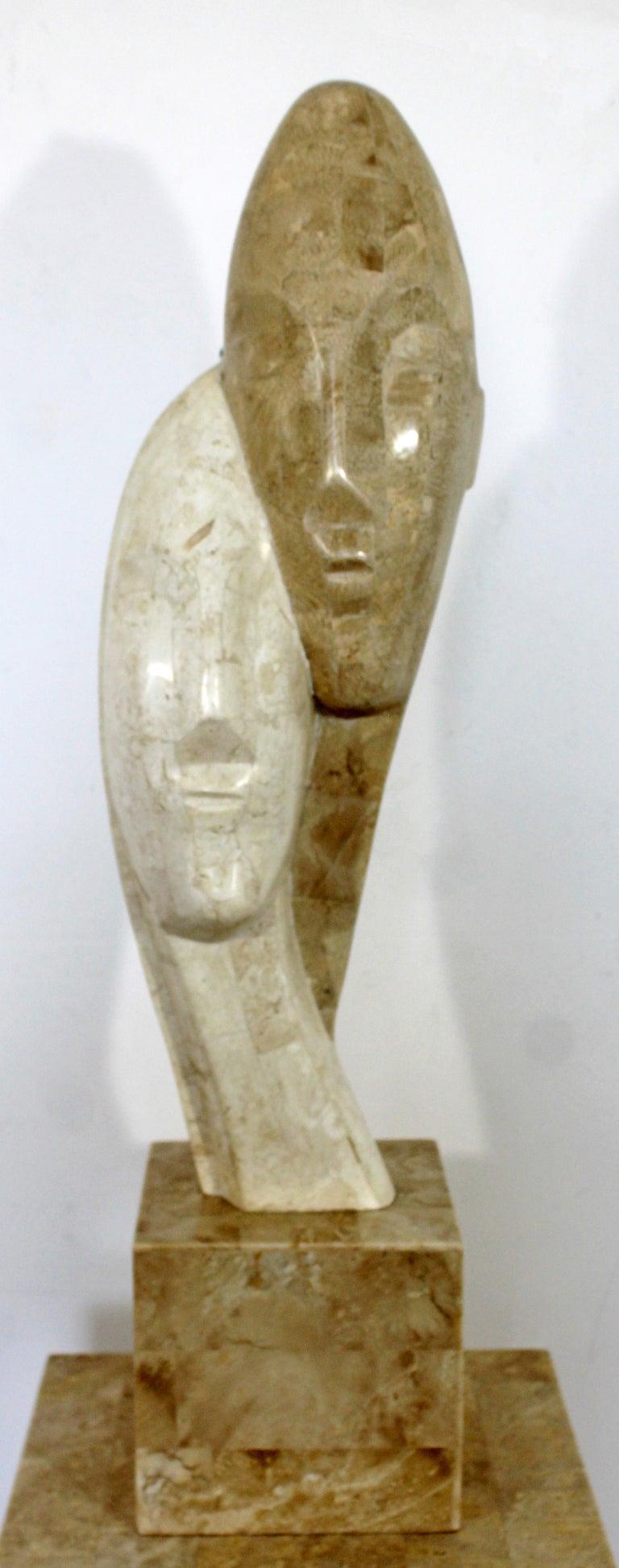 American Contemporary Modern Composite Faux Marble Sculpture on Pedestal Austin Prod Era For Sale