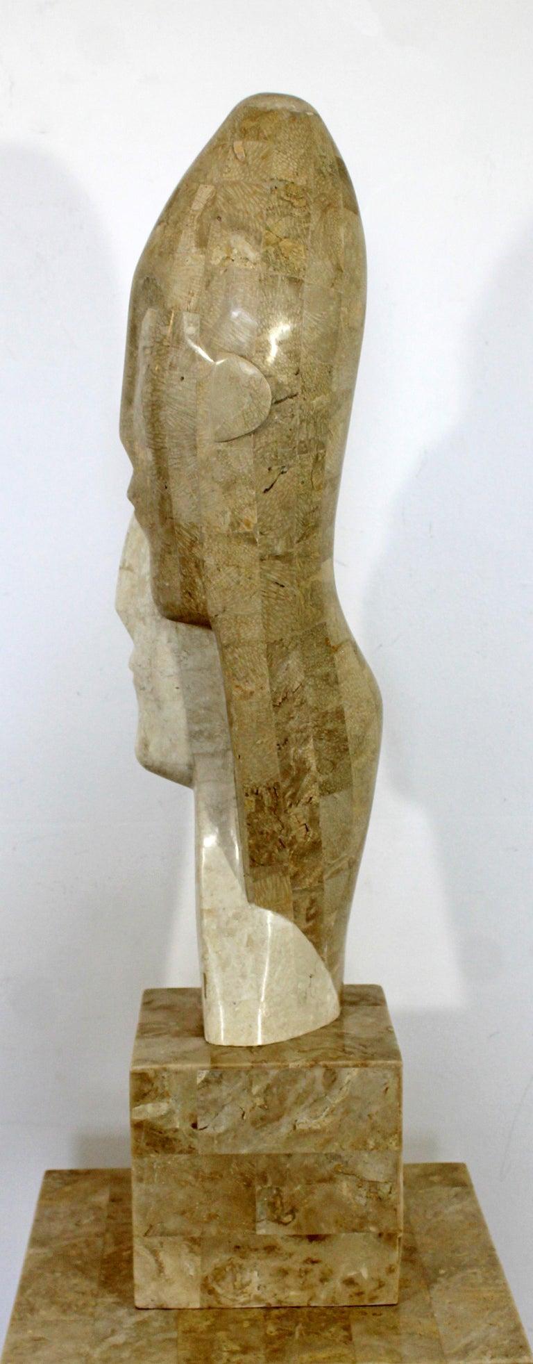 Late 20th Century Contemporary Modern Composite Faux Marble Sculpture on Pedestal Austin Prod Era For Sale