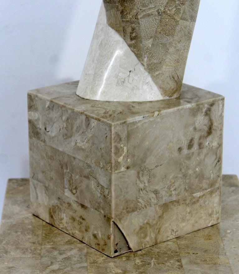 Contemporary Modern Composite Faux Marble Sculpture on Pedestal Austin Prod Era For Sale 2