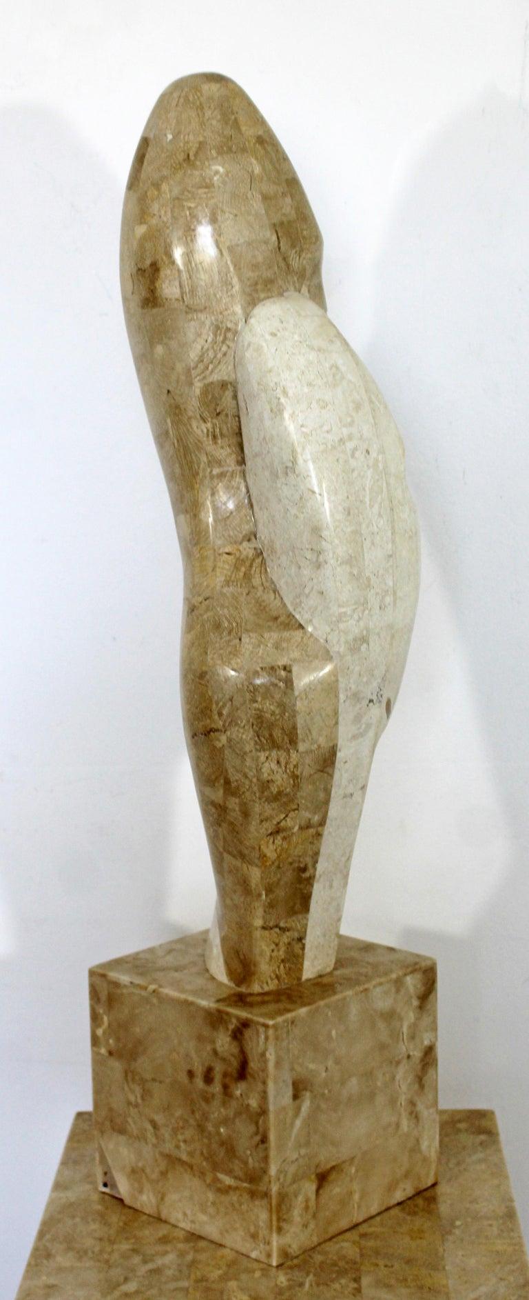 Contemporary Modern Composite Faux Marble Sculpture on Pedestal Austin Prod Era For Sale 4
