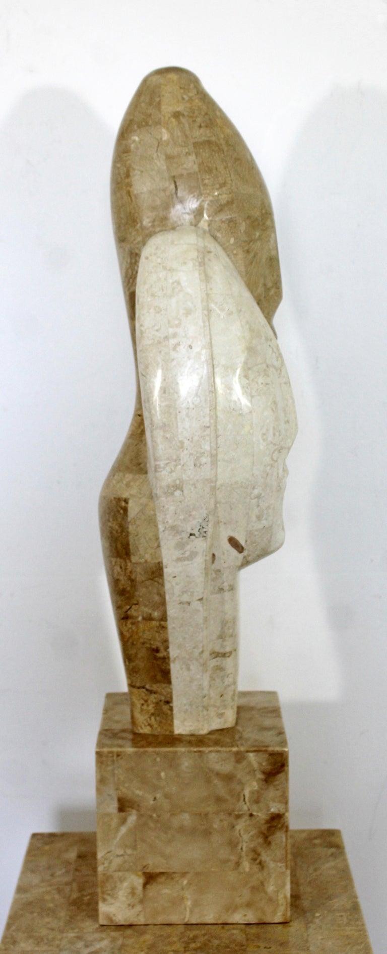 Contemporary Modern Composite Faux Marble Sculpture on Pedestal Austin Prod Era For Sale 5